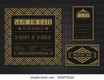Wedding invitation card vector template set. Art deco style.