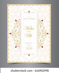 Wedding or invitation card  vintage style  with  crystals  abstract pattern background  ,vector element eps10 illustration,indian,islam,wedding,invitation