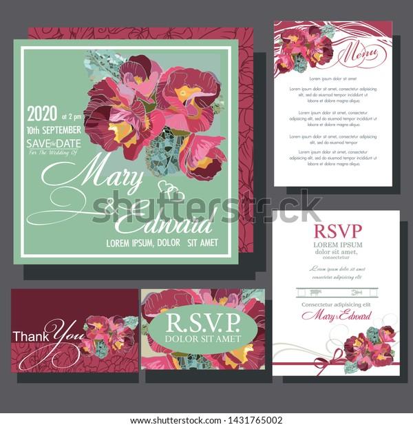 Wedding Invitation Card Violet Flowers Rsvp Stock Vector (Royalty ...