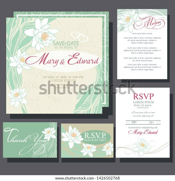 Wedding Invitation Card Water Lily Stock Vector (Royalty Free ...