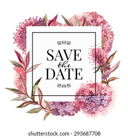Wedding invitation card with watercolor flowers. Vector illustration