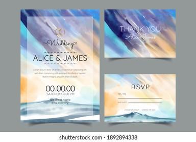 wedding invitation card, watercolor mountains