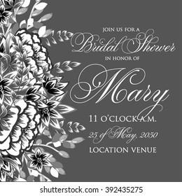 Wedding invitation card wirh llower wreat. Bridal shower invitaton.