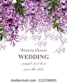 Wedding invitation card with wisteria flowers Vector. Beautiful flower decor. Gorgeous nature beauty designs
