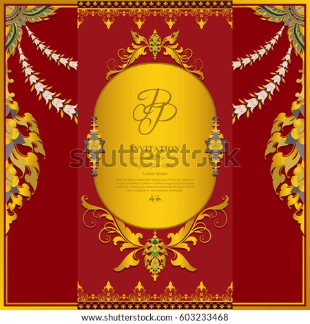 Gold And Red Background Wedding Invitation Card With Contemporary Thai Design Stock
