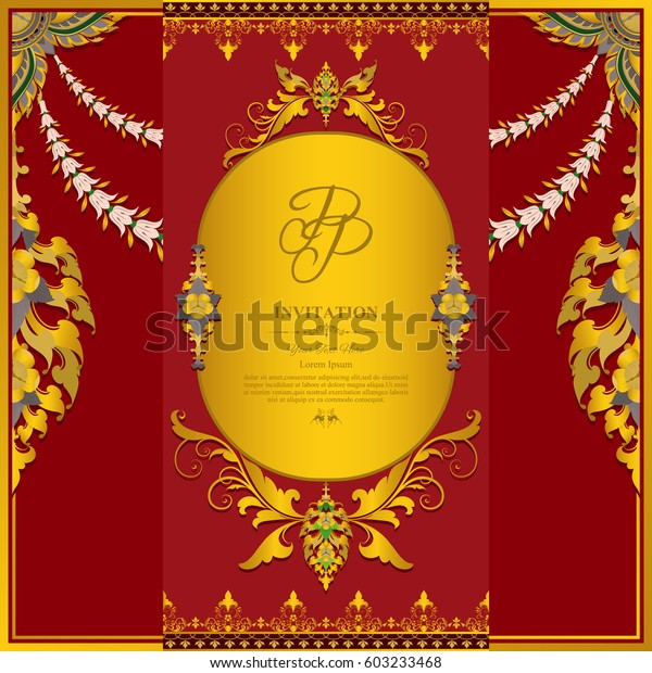 Wedding Invitation Card Withcontemporary Thai Designwith Stock