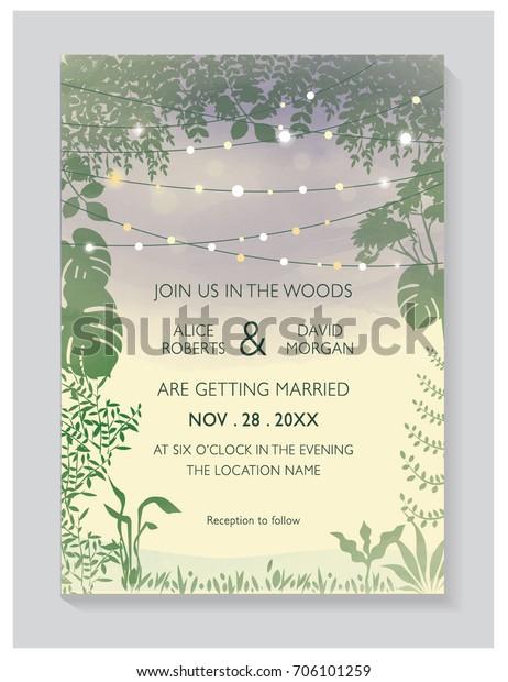 Wedding Invitation Card Wedding Woods Concept Stock Vector