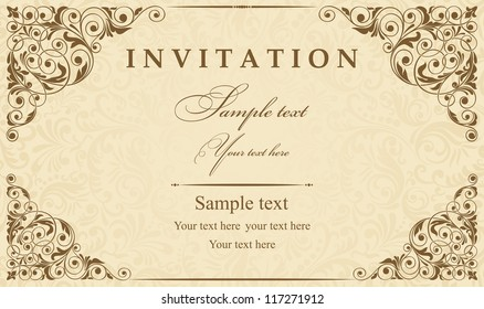 Vintage Birthday Invitation Card Stock Vectors Images