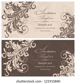 Wedding invitation cards baroque style brown and beige. Vintage Pattern. Damascus style ornament. Frame with flowers elements. Vector illustration.