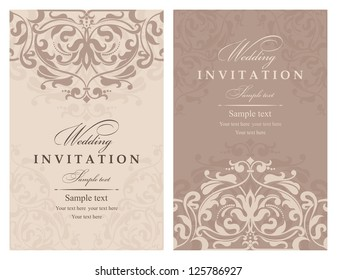 Engagement invitation images stock photos vectors shutterstock wedding invitation cards baroque style brown and beige vintage pattern damascus style ornament stopboris Choice Image