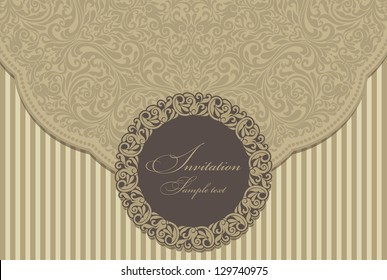 Wedding invitation cards baroque style brown and gold. Vintage Pattern. Damascus style ornament. Frame with flowers elements. Vector illustration.