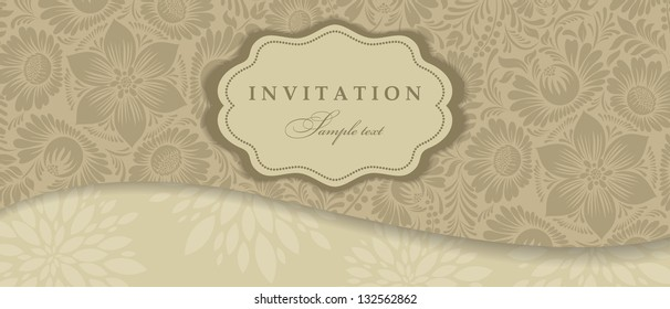 Wedding invitation cards baroque style brown and beige. Envelope for money. Vintage Pattern. Damascus style ornament. Frame with flowers elements. Vector illustration.