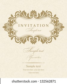 Wedding invitation cards baroque style gold and beige. Vintage Pattern. Damascus style ornament. Frame with flowers elements. Vector illustration.