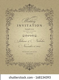 Wedding invitation cards baroque style brown and gold. Vintage Pattern. Retro Victorian ornament. Frame with flowers elements. Vector illustration.