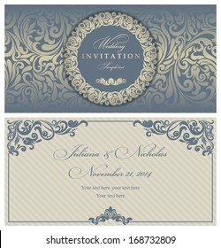 Wedding invitation cards baroque style blue and gold. Vintage Pattern. Retro Victorian ornament. Frame with flowers elements. Vector illustration.