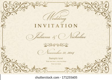 Wedding invitation cards baroque style gold and beige. Vintage Pattern. Retro Victorian ornament. Frame with flowers elements. Vector illustration.