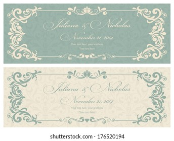 Wedding invitation cards baroque style green and beige. Vintage Pattern. Retro Victorian ornament. Frame with flowers elements. Vector illustration.