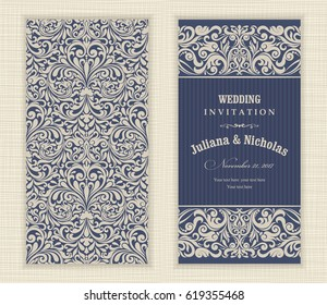 Wedding invitation cards baroque style blue and beige. Vintage Pattern. Damascus style ornament. Frame with flowers elements. Vector illustration.