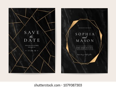 Wedding Invitation cards with black marble background texture and gold Geometric line vector