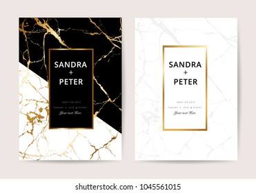 Wedding Invitation cards with black and withe marble texture, Gold line design vector illustration.