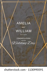 Wedding invitation cards with blackout marble texture with gold geometric lines. Vector illustration design.