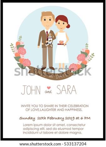 Wedding Invitation Cards Bride Groom Their Stock Vector Royalty