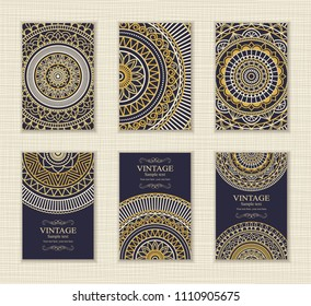 Wedding invitation cards Eastern style blue and gold. Arabic  Pattern. Mandala ornament. Frame with flowers elements. Vector illustration.