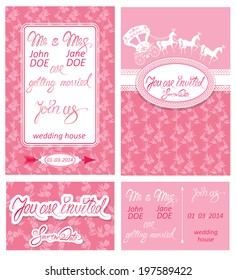 Wedding invitation cards with floral elements, calligraphic handwritten text, carriage and horse.