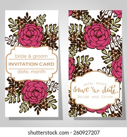 Wedding invitation cards with floral elements