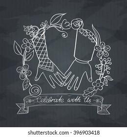 Wedding invitation cards with floral elements. Vector cards design. Wedding invitation, save the date. Vintage labels. Hand drawn floral ornaments. On blackboard. Outline.