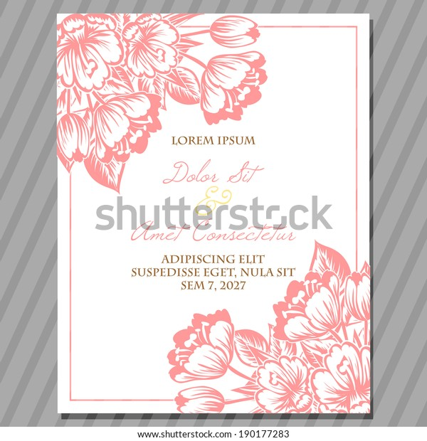 Wedding Invitation Cards Floral Elements Stock Vector (Royalty ...