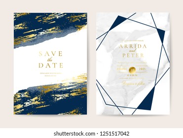 Wedding invitation cards with indigo marble texture background and gold geometric  line design vector.