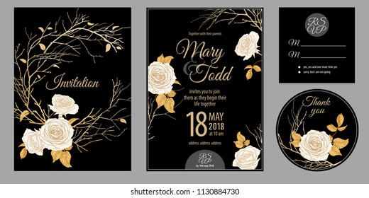 Wedding invitation cards. Invite, thank you, rsvp templates. Decoration with garden flowers roses, branches, frame pattern. Floral vector illustration set. Vintage. Oriental style. Gold, white, black.
