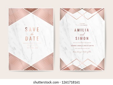 Wedding invitation cards with Luxury gold floral marble texture background and geometric pattern vector design template