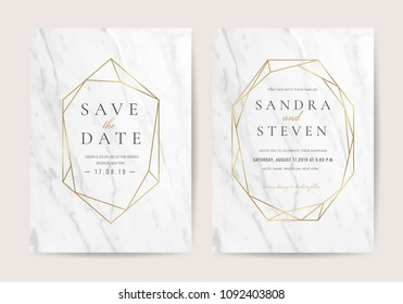 Wedding invitation cards with marble texture background and gold geometric  line design vector.