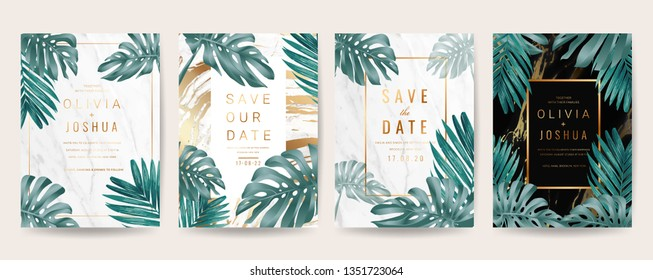 Wedding invitation cards with marble texture background,Gold geometric Shape line and Tropical Leaves design vector collection.