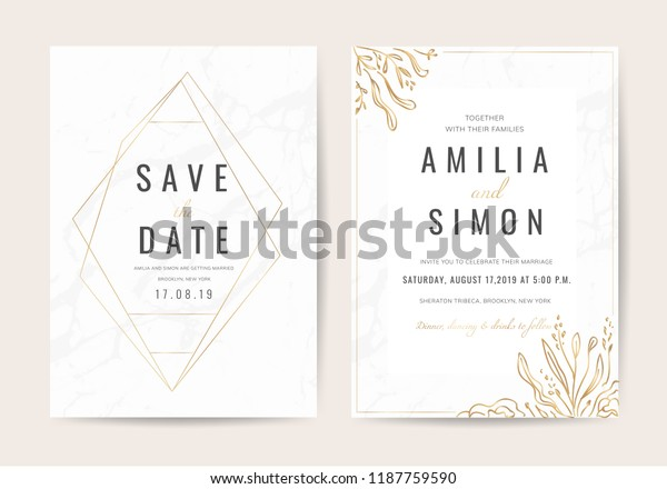 Wedding Invitation Cards Marble Texture Background Stock