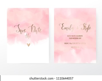 Wedding invitation cards with pink watercolor texture.