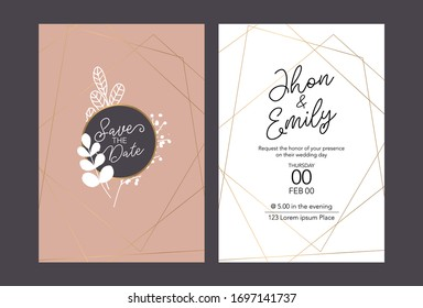 Wedding invitation cards, save the date, thank you, rsvp template. Vector. White and gold line.
