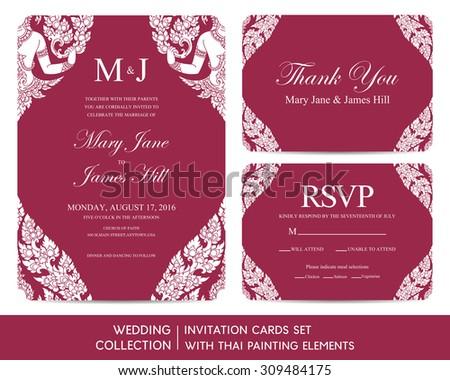 Wedding Invitation Cards Set Thai Painting Stock Vector (Royalty ...