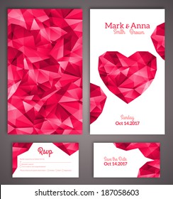 Wedding invitation cards template with abstract polygonal heart. Vector illustration.