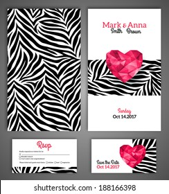 Wedding invitation cards template with abstract polygonal heart and zebra print. Vector illustration.