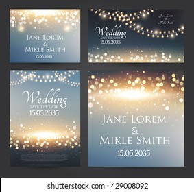 Wedding Invitation Cards Template Set with Soft Lights and Bokeh Elements. Vector illustration