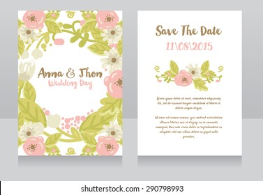 wedding invitation cards, vector illustration