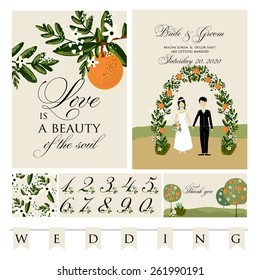 The wedding invitation with cartoon couple groom and bride in retro style with vignettes,ribbon,.A design template.The vector.