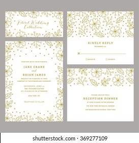Wedding Invitation Collection with Floral and Confetti. Floral Wedding Invite Template.