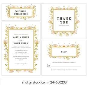 Wedding Invitation Collection with Floral Frame