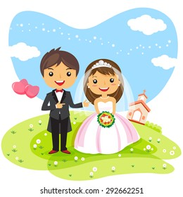 wedding cartoon images stock photos vectors shutterstock rh shutterstock com wedding cartoon pictures free cartoon wedding pictures images