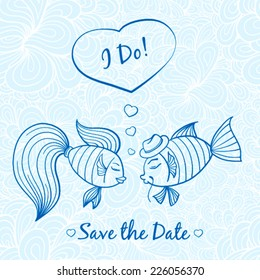 Wedding invitation with cute fishes