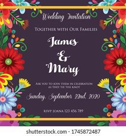 wedding invitation with cute flower theme vector illustration